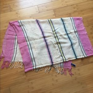 "GAP ""Jan"" blanket in neon Malibu pink stripe NWOT"